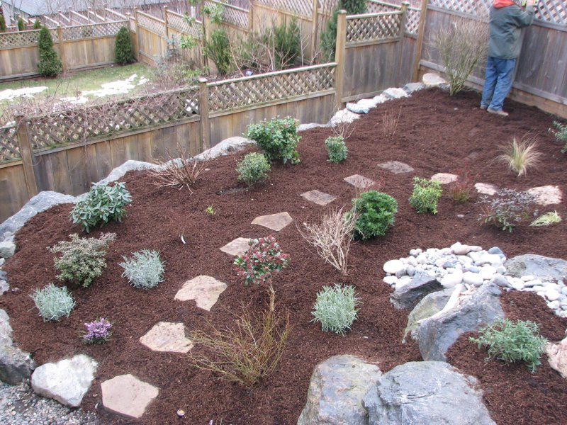 placing mulch and plants