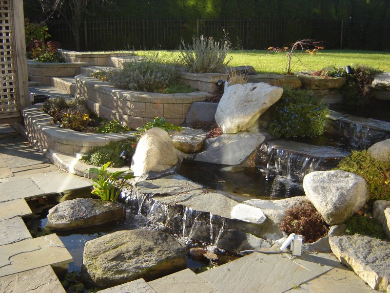 water feature with pond